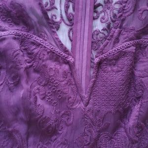 Forever 21 Pants - Purple Short Sleeve Embroidered Romper